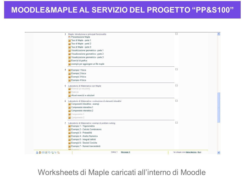 MOODLE&MAPLE AL SERVIZIO DEL PROGETTO PP&S100 Worksheets di Maple caricati allinterno di Moodle