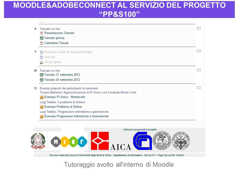 MOODLE&ADOBECONNECT AL SERVIZIO DEL PROGETTO PP&S100 Tutoraggio svolto allinterno di Moodle