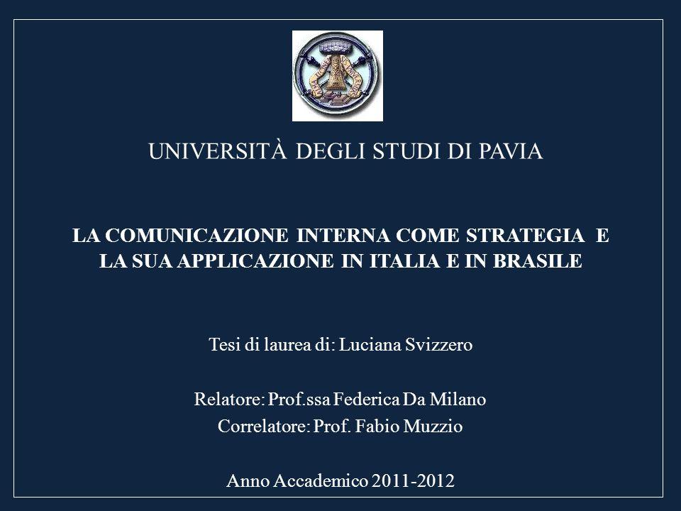 LA COMUNICAZIONE INTERNA COME STRATEGIA E LA SUA APPLICAZIONE IN ITALIA E IN BRASILE Tesi di laurea di: Luciana Svizzero Relatore: Prof.ssa Federica D