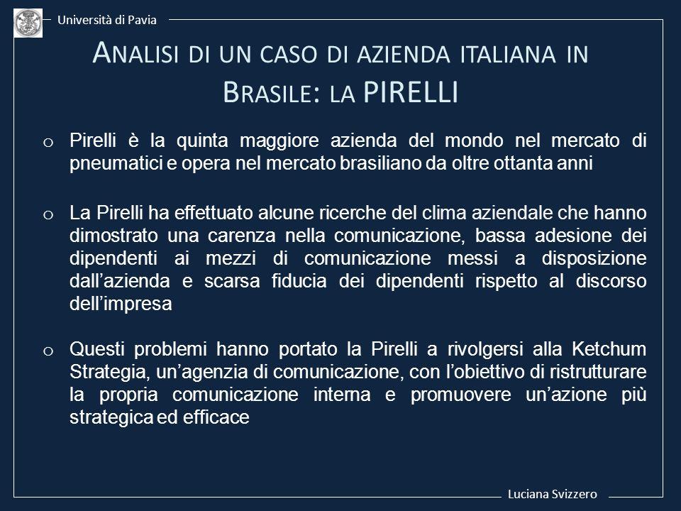 Luciana Svizzero Università di Pavia o Pirelli è la quinta maggiore azienda del mondo nel mercato di pneumatici e opera nel mercato brasiliano da oltr