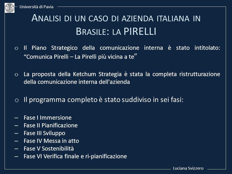 Luciana Svizzero Università di Pavia o Il Piano Strategico della comunicazione interna è stato intitolato: Comunica Pirelli – La Pirelli più vicina a