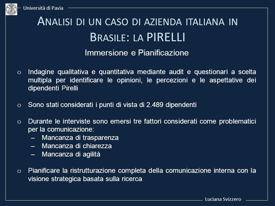 Luciana Svizzero Università di Pavia Immersione e Pianificazione o Indagine qualitativa e quantitativa mediante audit e questionari a scelta multipla