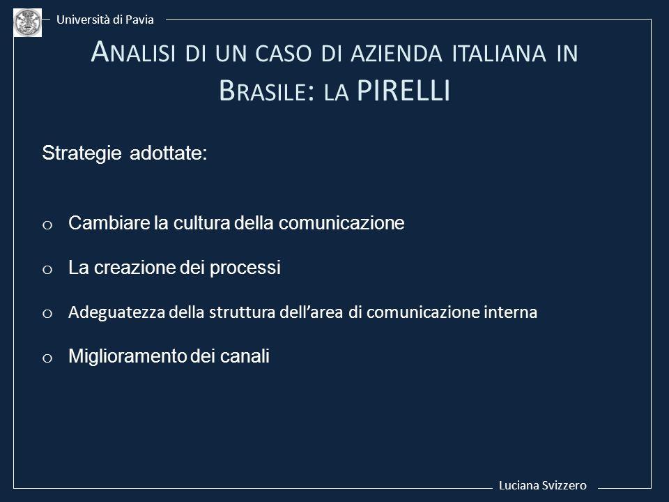 Luciana Svizzero Università di Pavia Strategie adottate: o Cambiare la cultura della comunicazione o La creazione dei processi o Adeguatezza della str