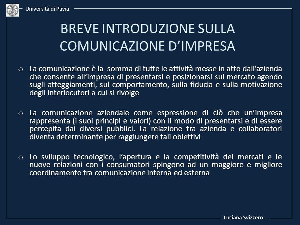 o La comunicazione è la somma di tutte le attività messe in atto dallazienda che consente allimpresa di presentarsi e posizionarsi sul mercato agendo