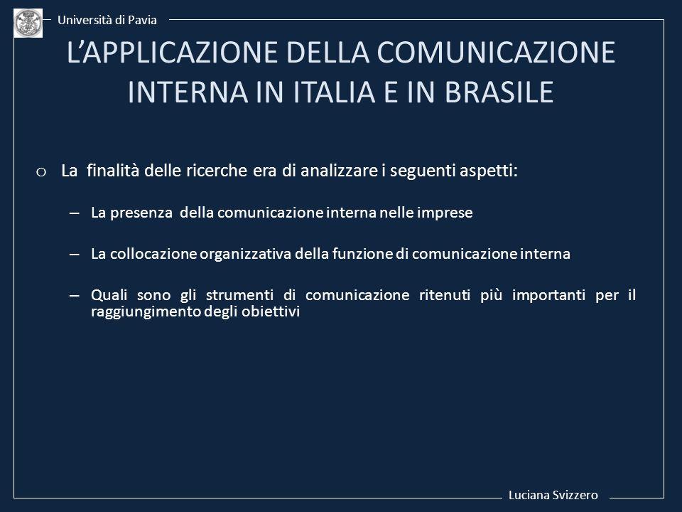 o La finalità delle ricerche era di analizzare i seguenti aspetti: –La presenza della comunicazione interna nelle imprese –La collocazione organizzati