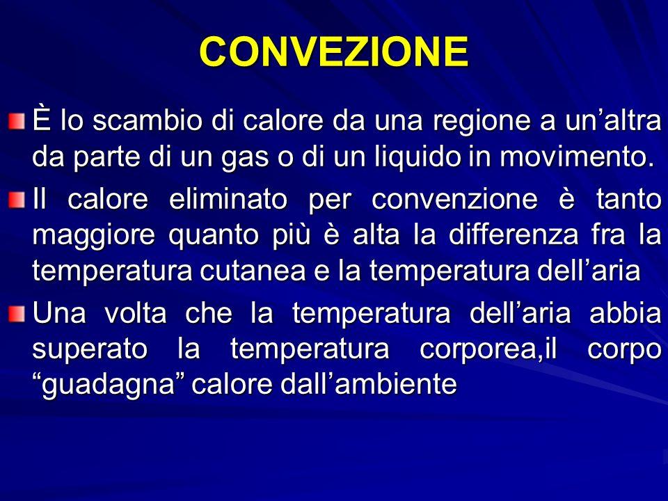 CONVEZIONE È lo scambio di calore da una regione a unaltra da parte di un gas o di un liquido in movimento.