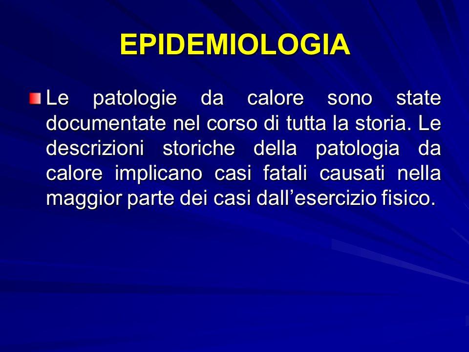 EPIDEMIOLOGIA Le patologie da calore sono state documentate nel corso di tutta la storia.
