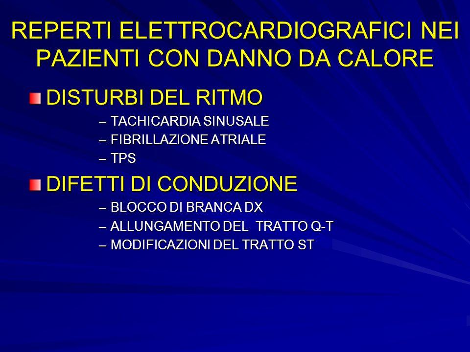 REPERTI ELETTROCARDIOGRAFICI NEI PAZIENTI CON DANNO DA CALORE DISTURBI DEL RITMO –TACHICARDIA SINUSALE –FIBRILLAZIONE ATRIALE –TPS DIFETTI DI CONDUZIONE –BLOCCO DI BRANCA DX –ALLUNGAMENTO DEL TRATTO Q-T –MODIFICAZIONI DEL TRATTO ST