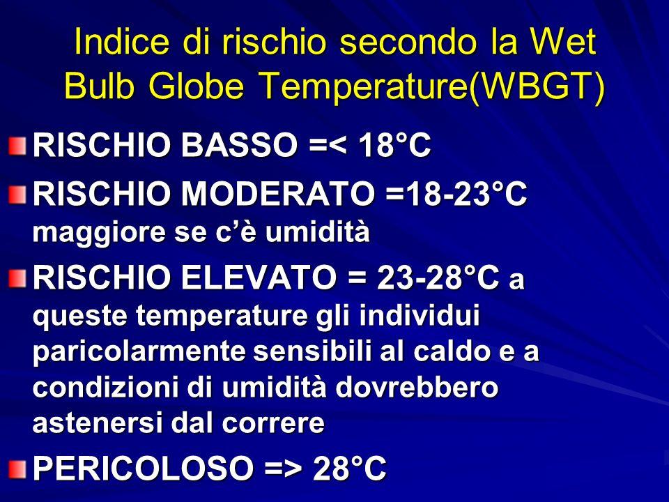 Indice di rischio secondo la Wet Bulb Globe Temperature(WBGT) RISCHIO BASSO =< 18°C RISCHIO MODERATO =18-23°C maggiore se cè umidità RISCHIO ELEVATO = 23-28°C a queste temperature gli individui paricolarmente sensibili al caldo e a condizioni di umidità dovrebbero astenersi dal correre PERICOLOSO => 28°C