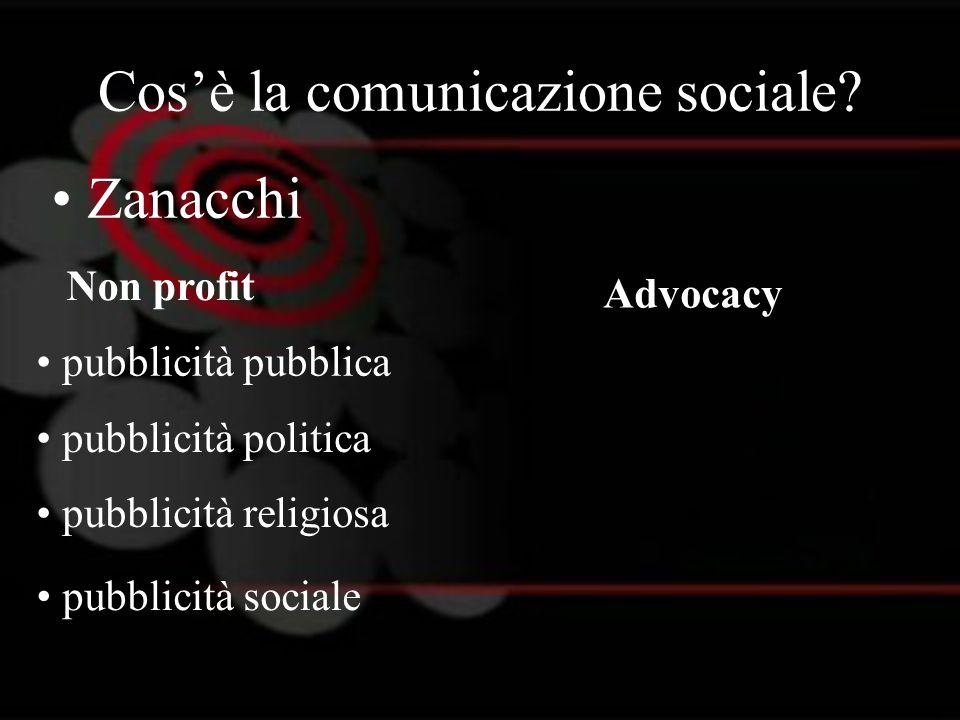 Cosè la comunicazione sociale? Zanacchi Non profit Advocacy pubblicità pubblica pubblicità politica pubblicità religiosa pubblicità sociale