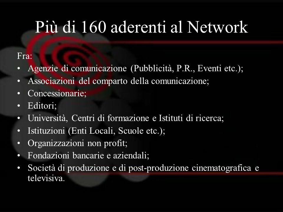 Più di 160 aderenti al Network Fra: Agenzie di comunicazione (Pubblicità, P.R., Eventi etc.); Associazioni del comparto della comunicazione; Concessio