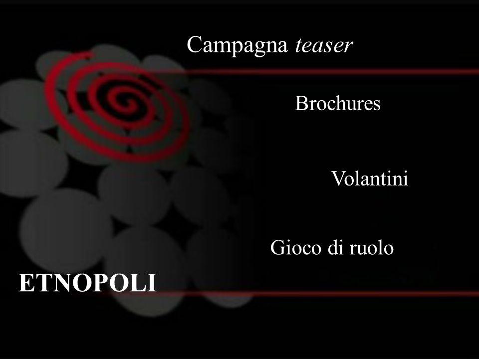 Campagna teaser ETNOPOLI Volantini Brochures Gioco di ruolo
