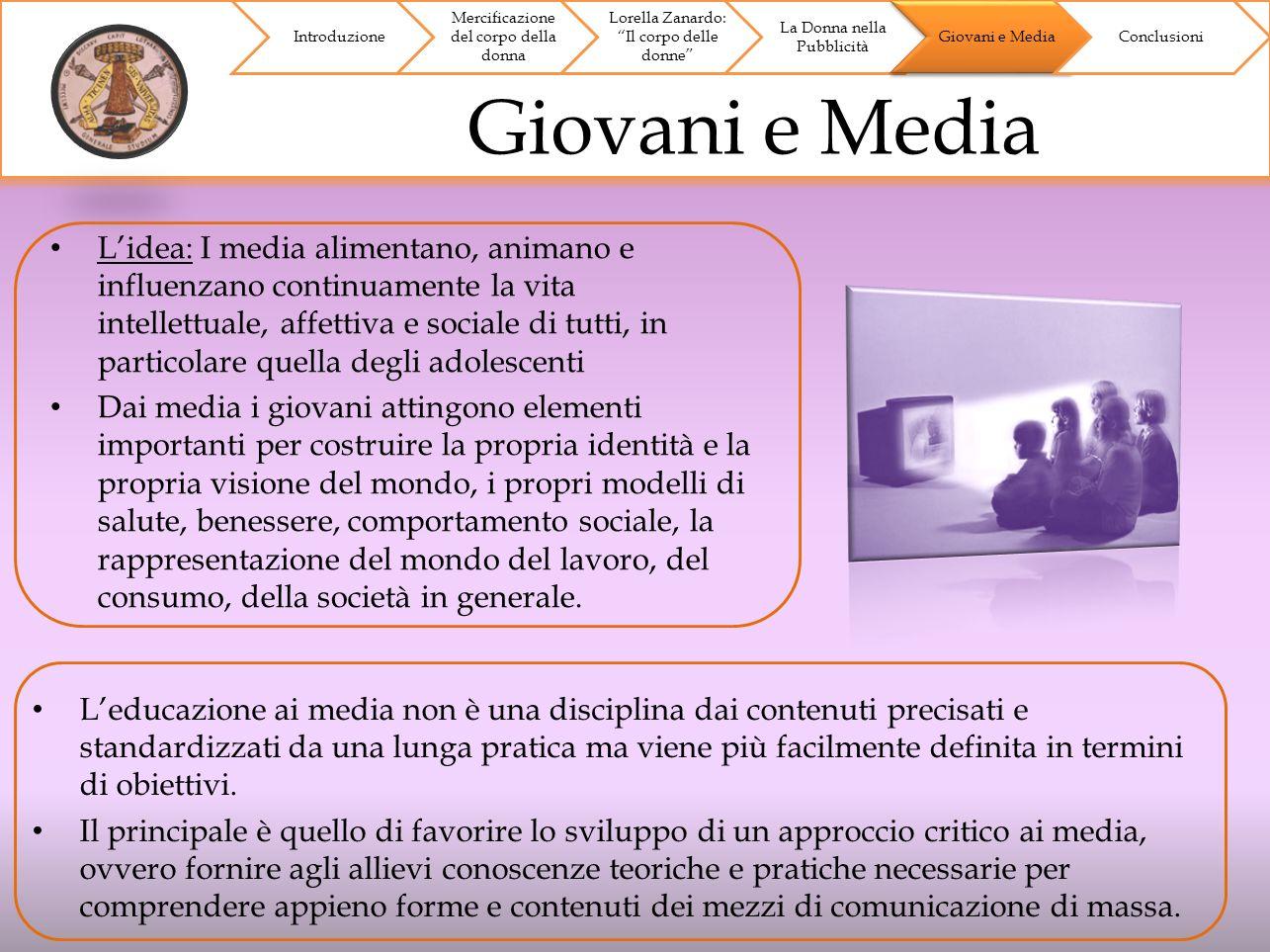 Giovani e Media Introduzione Mercificazione del corpo della donna Lorella Zanardo: Il corpo delle donne La Donna nella Pubblicità Giovani e Media Conc