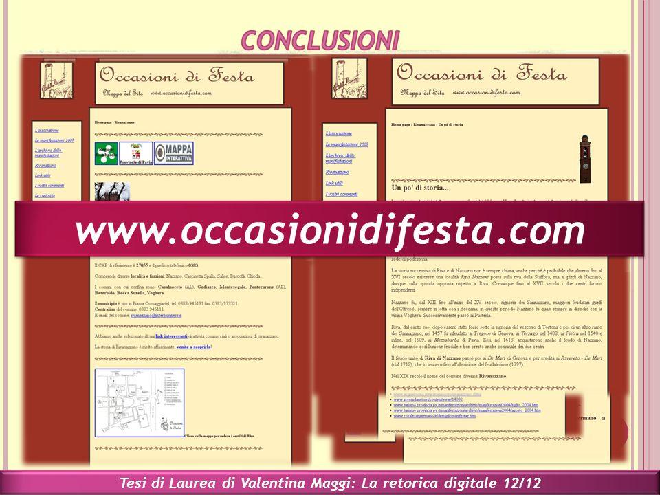 Tesi di Laurea di Valentina Maggi: La retorica digitale 12/12 www.occasionidifesta.com