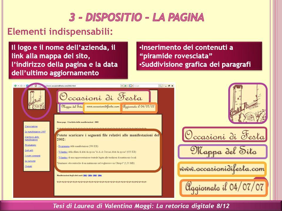 Elementi indispensabili: Tesi di Laurea di Valentina Maggi: La retorica digitale 8/12 Il logo e il nome dellazienda, il link alla mappa del sito, lind