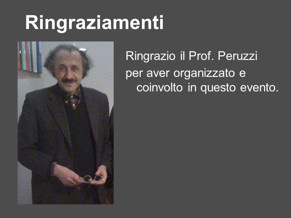 Ringraziamenti Ringrazio il Prof. Peruzzi per aver organizzato e coinvolto in questo evento.