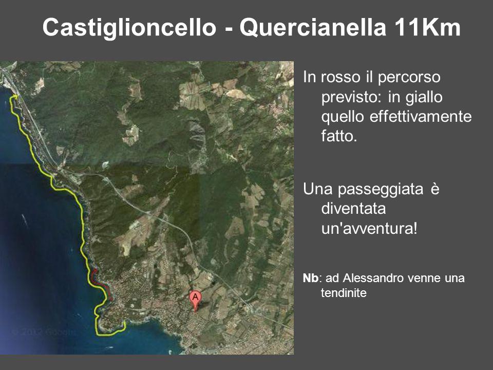 Castiglioncello - Quercianella 11Km In rosso il percorso previsto: in giallo quello effettivamente fatto. Una passeggiata è diventata un'avventura! Nb
