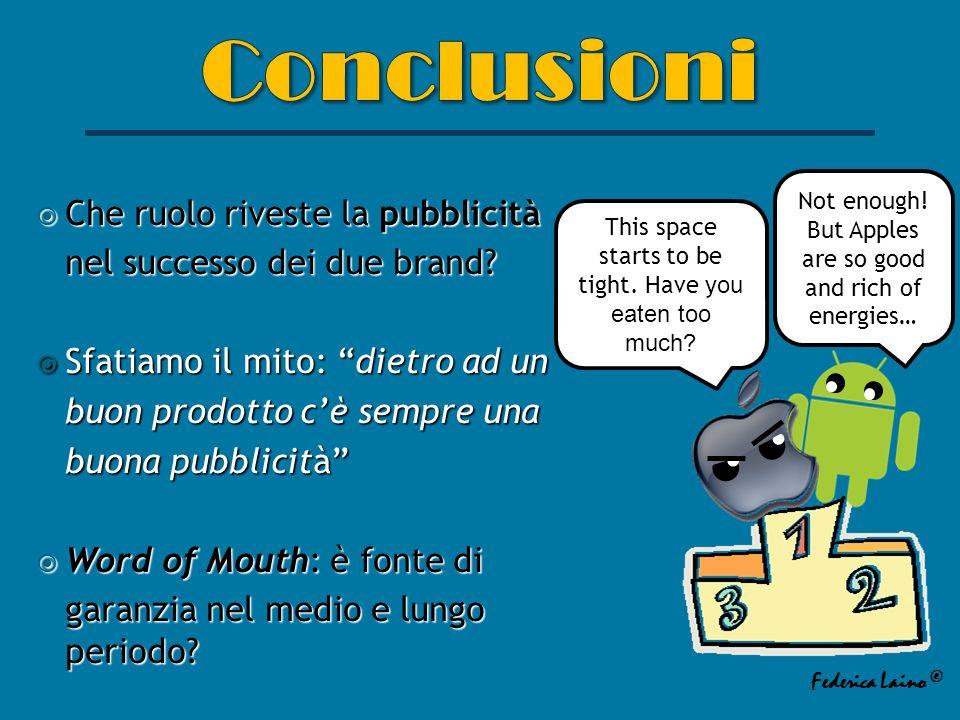Che ruolo riveste la pubblicità Che ruolo riveste la pubblicità nel successo dei due brand.