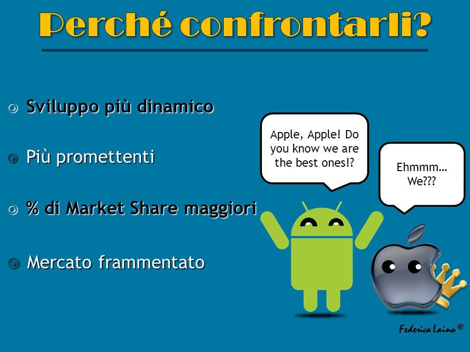 Sviluppo più dinamico Sviluppo più dinamico Più promettenti Più promettenti % di Market Share maggiori % di Market Share maggiori Mercato frammentato Mercato frammentato Apple, Apple.