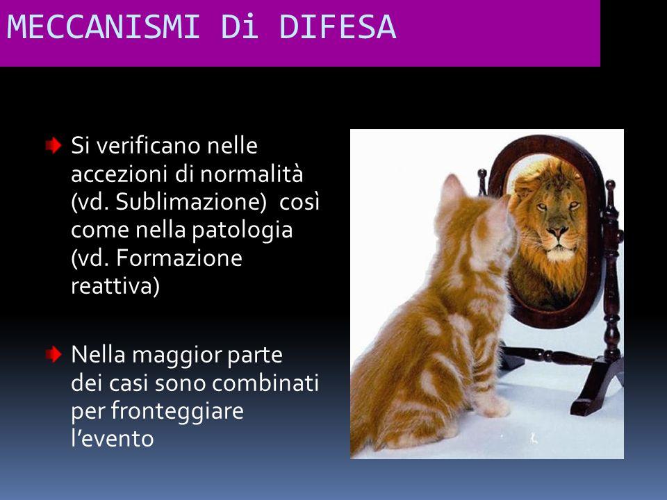 MECCANISMI Di DIFESA Si verificano nelle accezioni di normalità (vd. Sublimazione) così come nella patologia (vd. Formazione reattiva) Nella maggior p
