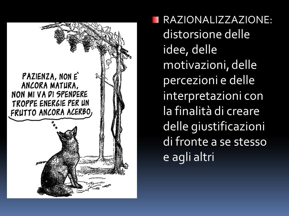 RAZIONALIZZAZIONE: distorsione delle idee, delle motivazioni, delle percezioni e delle interpretazioni con la finalità di creare delle giustificazioni