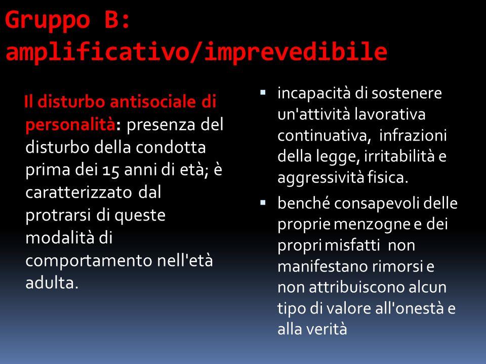 Gruppo B: amplificativo/imprevedibile Il disturbo antisociale di personalità: presenza del disturbo della condotta prima dei 15 anni di età; è caratte