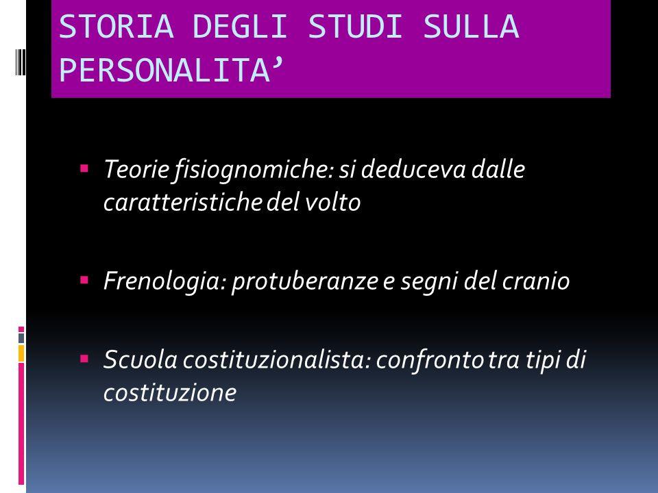STORIA DEGLI STUDI SULLA PERSONALITA Teorie fisiognomiche: si deduceva dalle caratteristiche del volto Frenologia: protuberanze e segni del cranio Scu