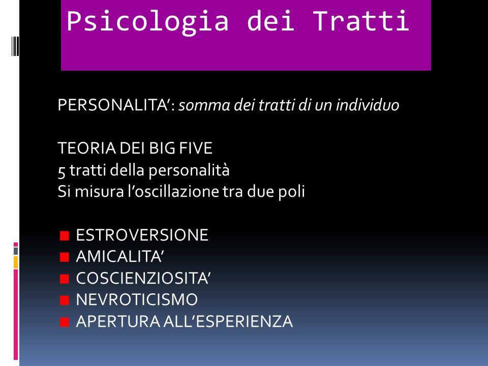 PERSONALITA: somma dei tratti di un individuo TEORIA DEI BIG FIVE 5 tratti della personalità Si misura loscillazione tra due poli ESTROVERSIONE AMICAL