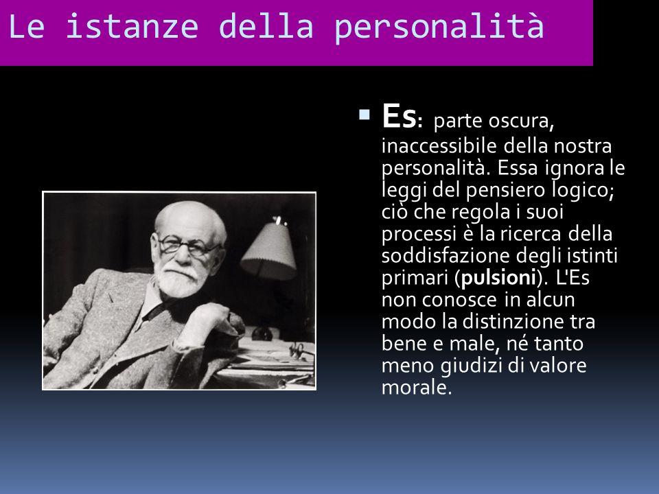 Le istanze della personalità Es : parte oscura, inaccessibile della nostra personalità. Essa ignora le leggi del pensiero logico; ciò che regola i suo