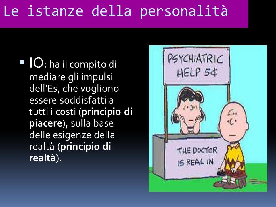 Le istanze della personalità IO : ha il compito di mediare gli impulsi dell'Es, che vogliono essere soddisfatti a tutti i costi (principio di piacere)