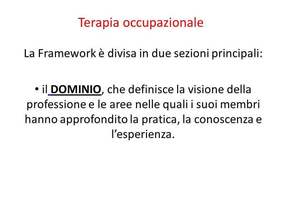 Terapia occupazionale La Framework è divisa in due sezioni principali: il DOMINIO, che definisce la visione della professione e le aree nelle quali i