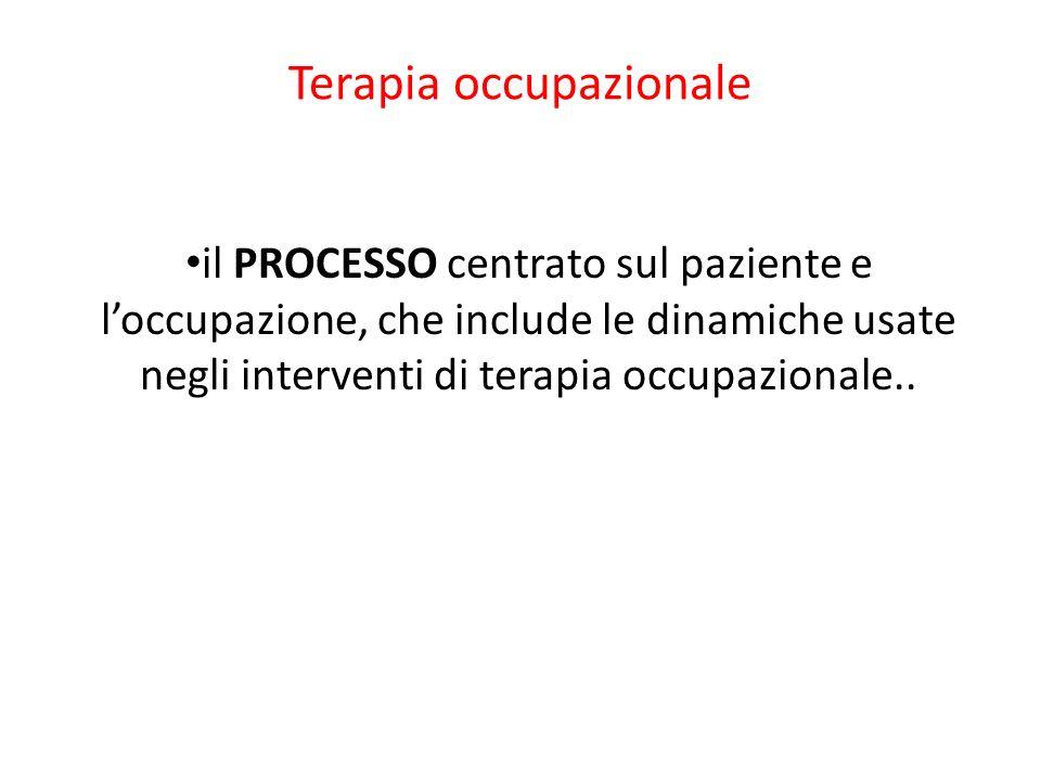 Terapia occupazionale il PROCESSO centrato sul paziente e loccupazione, che include le dinamiche usate negli interventi di terapia occupazionale..