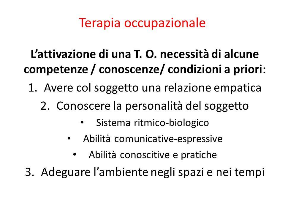 Terapia occupazionale Lattivazione di una T. O. necessità di alcune competenze / conoscenze/ condizioni a priori: 1.Avere col soggetto una relazione e