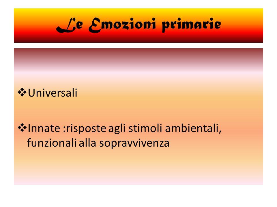 Universali Innate :risposte agli stimoli ambientali, funzionali alla sopravvivenza Le Emozioni primarie