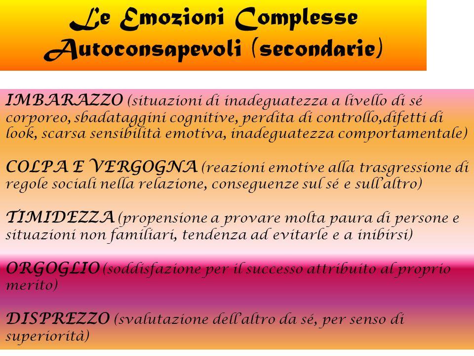 Le Emozioni Complesse Autoconsapevoli (secondarie) IMBARAZZO (situazioni di inadeguatezza a livello di sé corporeo, sbadataggini cognitive, perdita di