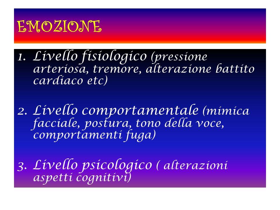 1.Livello fisiologico (pressione arteriosa, tremore, alterazione battito cardiaco etc) 2.Livello comportamentale (mimica facciale, postura, tono della