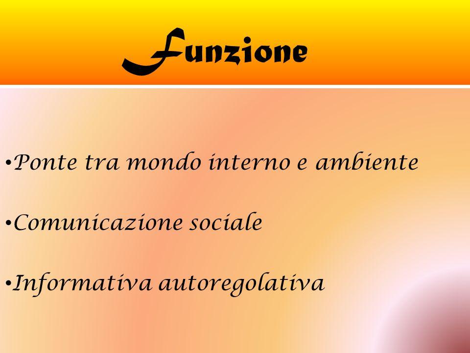 F unzione Ponte tra mondo interno e ambiente Comunicazione sociale Informativa autoregolativa