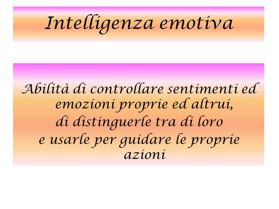 Intelligenza emotiva Abilità di controllare sentimenti ed emozioni proprie ed altrui, di distinguerle tra di loro e usarle per guidare le proprie azio