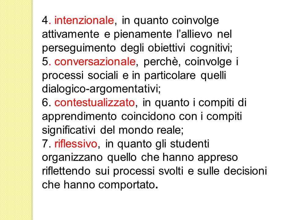 4. intenzionale, in quanto coinvolge attivamente e pienamente lallievo nel perseguimento degli obiettivi cognitivi; 5. conversazionale, perchè, coinvo