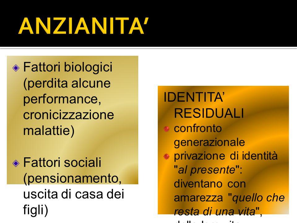 Fattori biologici (perdita alcune performance, cronicizzazione malattie) Fattori sociali (pensionamento, uscita di casa dei figli) IDENTITA RESIDUALI