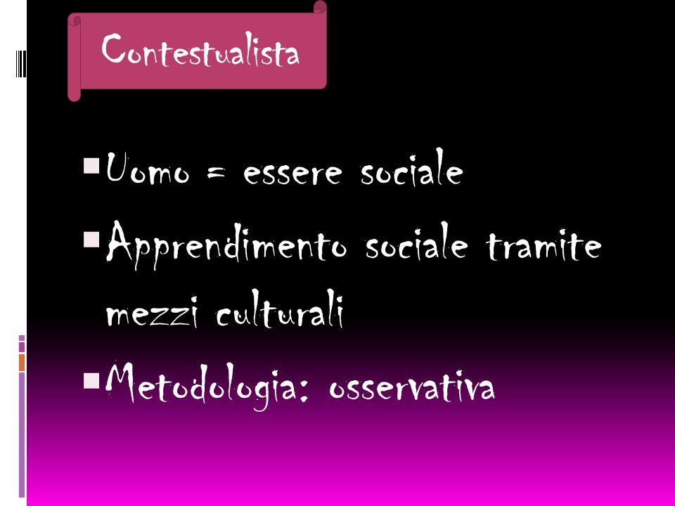 Uomo = essere sociale Apprendimento sociale tramite mezzi culturali Metodologia: osservativa Contestualista