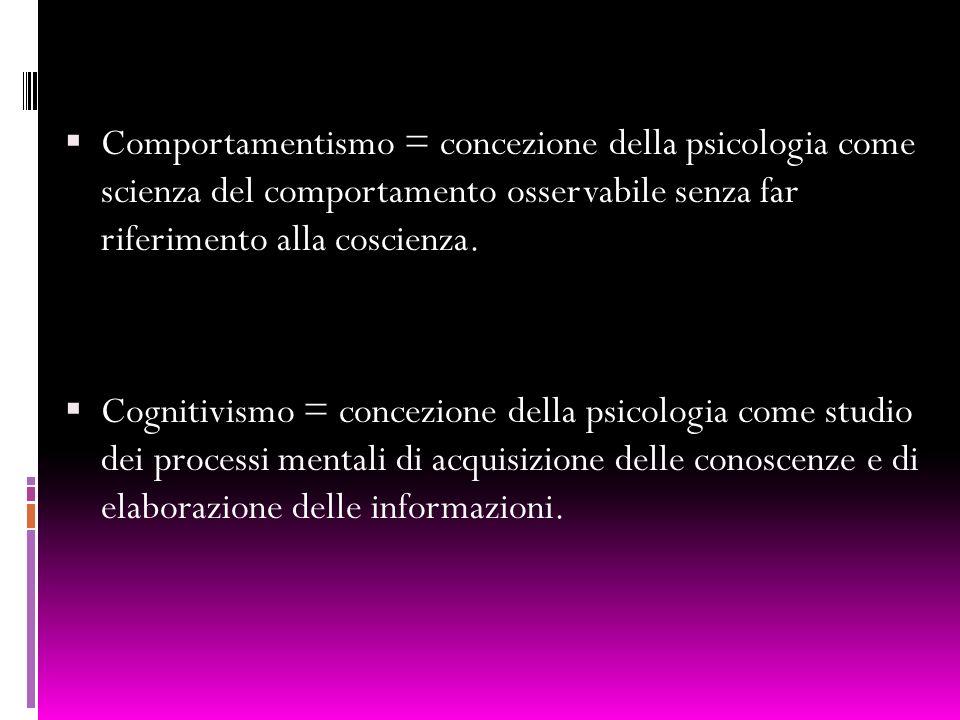 Comportamentismo = concezione della psicologia come scienza del comportamento osservabile senza far riferimento alla coscienza. Cognitivismo = concezi