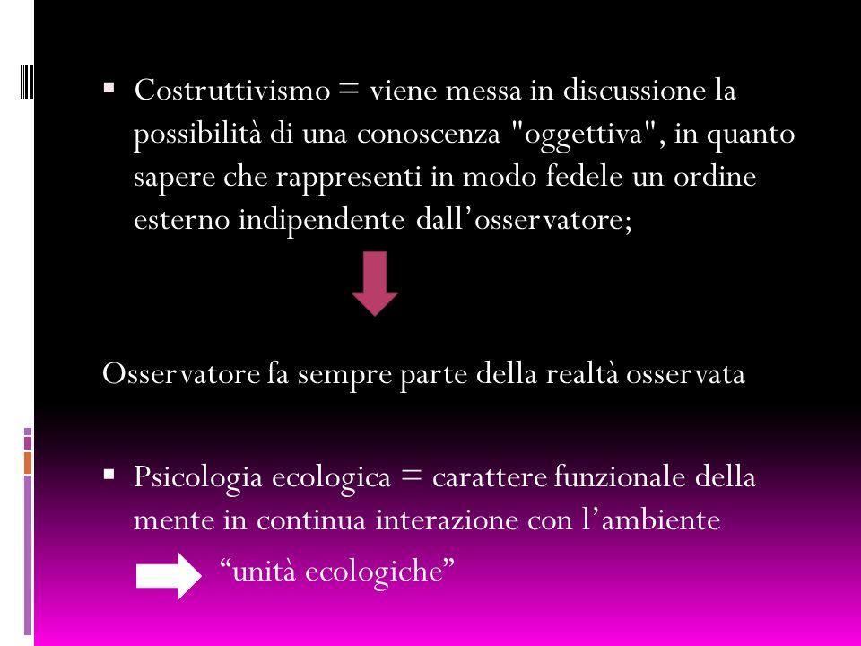 Costruttivismo = viene messa in discussione la possibilità di una conoscenza