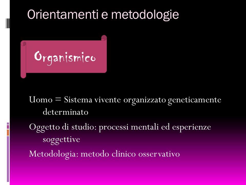 Orientamenti e metodologie Uomo = Sistema vivente organizzato geneticamente determinato Oggetto di studio: processi mentali ed esperienze soggettive M