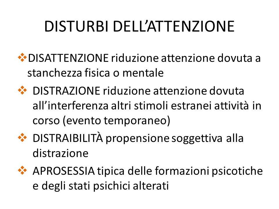 DISTURBI DELLATTENZIONE DISATTENZIONE riduzione attenzione dovuta a stanchezza fisica o mentale DISTRAZIONE riduzione attenzione dovuta allinterferenz