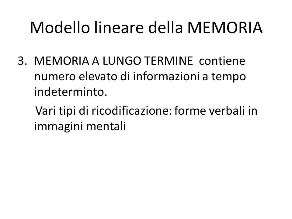 Modello lineare della MEMORIA 3.MEMORIA A LUNGO TERMINE contiene numero elevato di informazioni a tempo indeterminto. Vari tipi di ricodificazione: fo