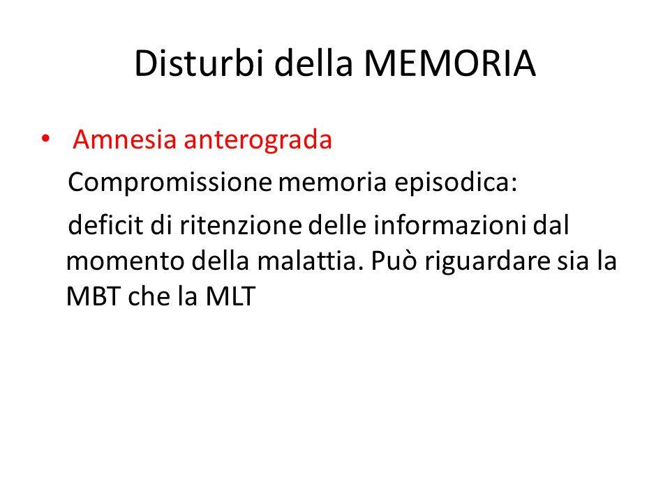 Disturbi della MEMORIA Amnesia anterograda Compromissione memoria episodica: deficit di ritenzione delle informazioni dal momento della malattia. Può