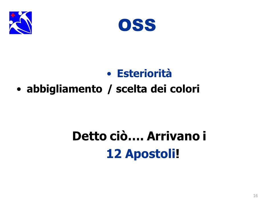 16 OSS Esteriorità abbigliamento / scelta dei colori Detto ciò…. Arrivano i 12 Apostoli!