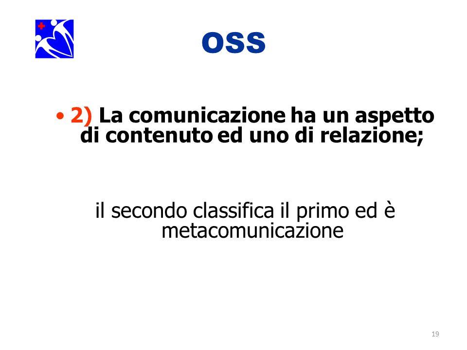 19 OSS 2) La comunicazione ha un aspetto di contenuto ed uno di relazione; il secondo classifica il primo ed è metacomunicazione