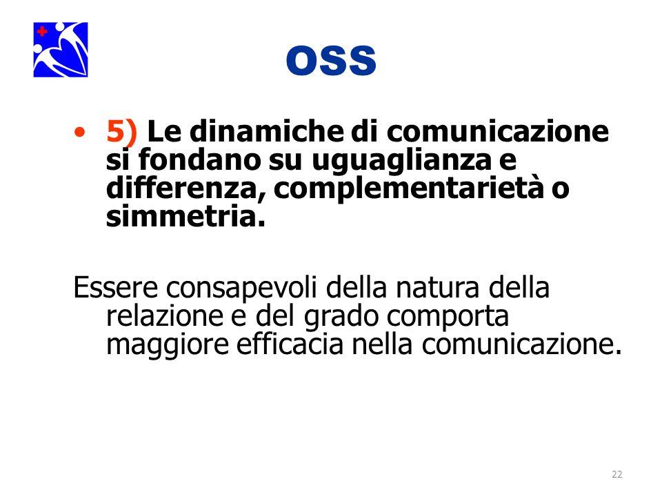 22 OSS 5) Le dinamiche di comunicazione si fondano su uguaglianza e differenza, complementarietà o simmetria. Essere consapevoli della natura della re